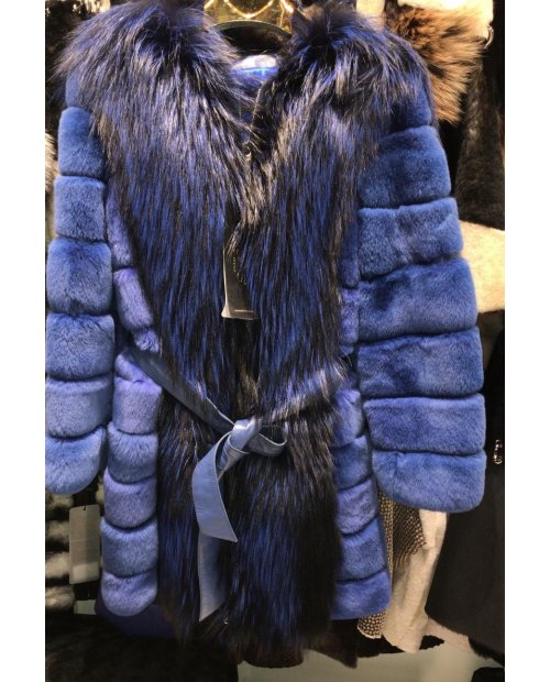 Nový kožešinový kabátek Rex Rabbit s mývalovitým límcem