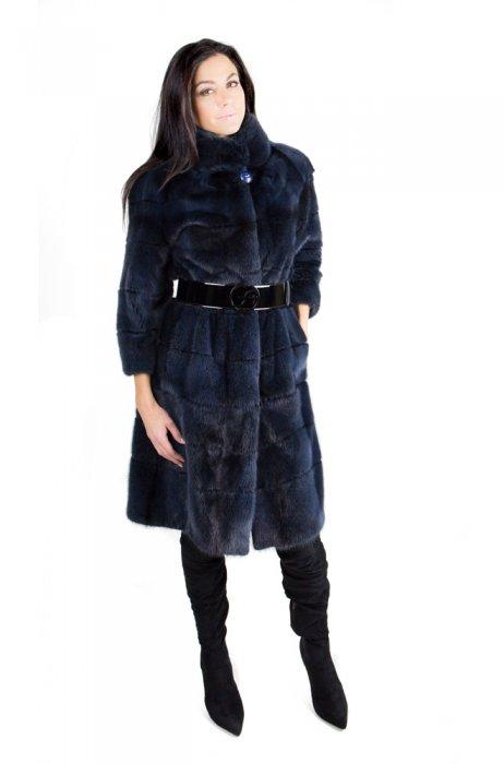Norkový dlouhý kabát s krásnou podšívkou