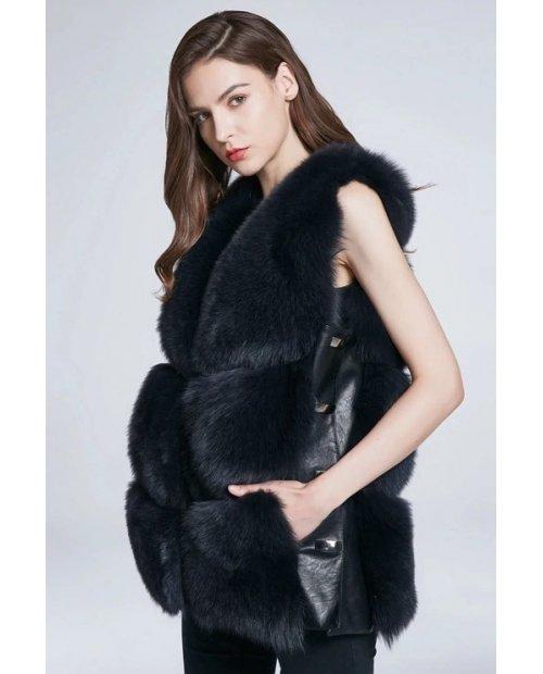 Nový model/Jarní kožešinová vesta z lišky - černá