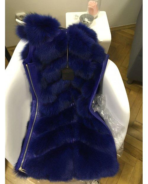 Electric blue kožešinová vesta / nový model