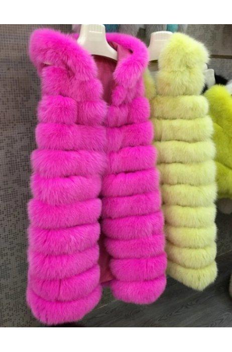 Fashion neon barvy  vesta z lišky s kapucí