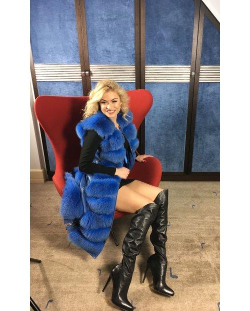 Royal blue kožešinová vesta z lišky / nový model