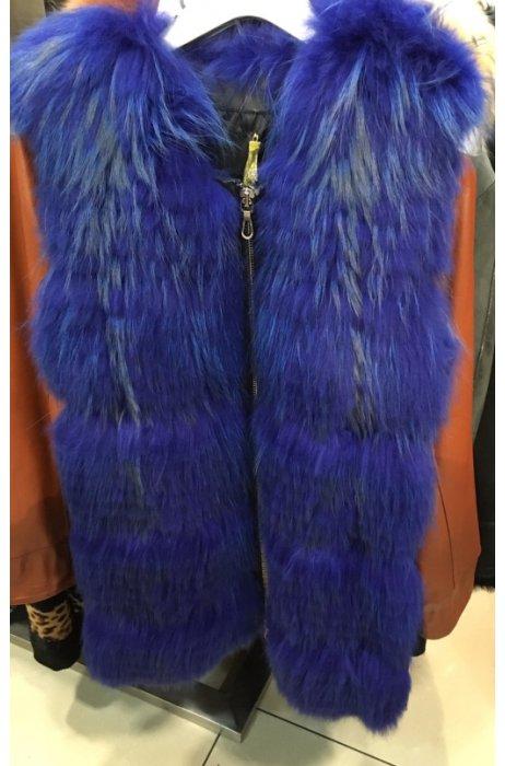 Royal blue kožešinová vesta - liška