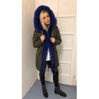 Fashion khaki parka s Royal blue kožíškem
