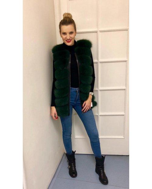 New model / Zelená vesta z Liška po stranách zip