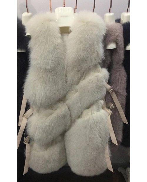 New model / Kožešinový vesta z lišky po stranách s pásky