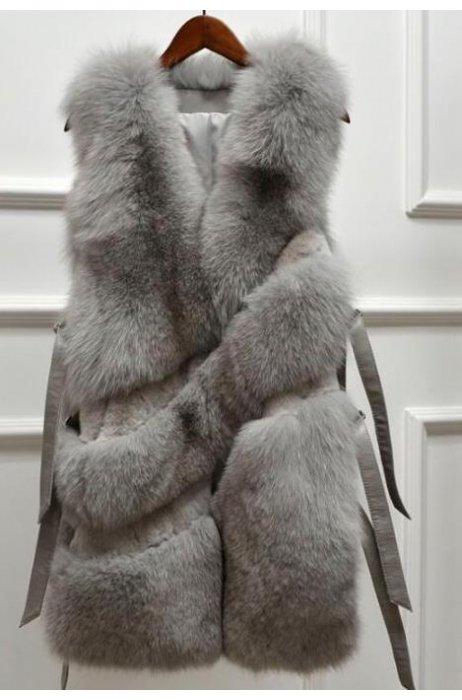 Nový model jarní kožešinová vesta s pásky po stranách