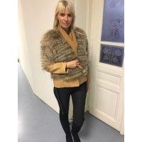 Luxusní kožená bunda s kožešinou mývala - dovoz Řecko