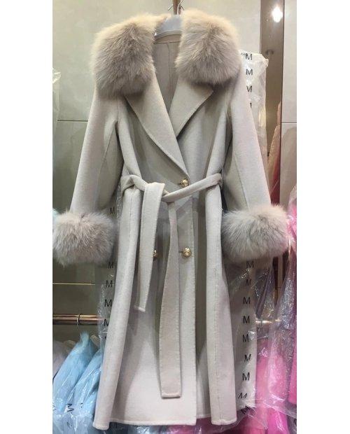 Vlněný dlouhý kabát s kožešinou z lišky