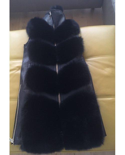 Modní kožešinová vesta z lišky na zip