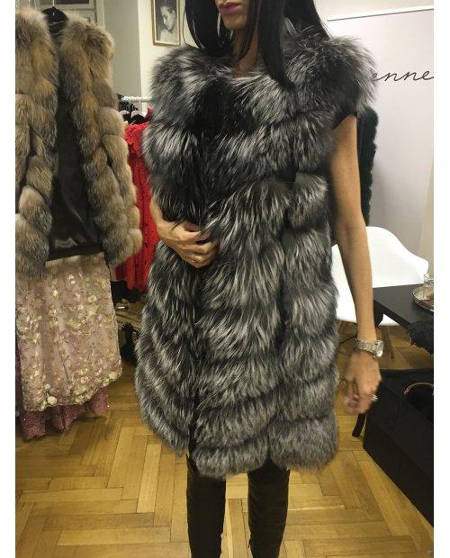 Kožešinová vesta z lišky na zip - dlouhý chlup - lehoučká