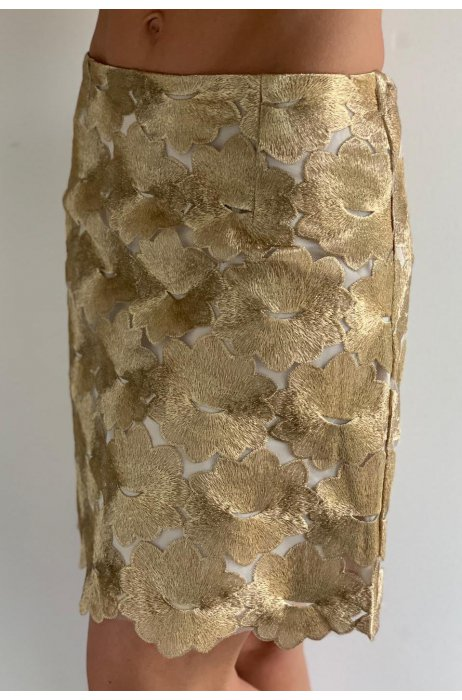 Krajková zlatá sukně na zip