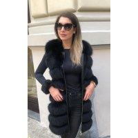 Luxury kožešinová vesta z lišky se zlatými zipy