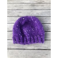 Vlněná čepice s flitrama - hand made