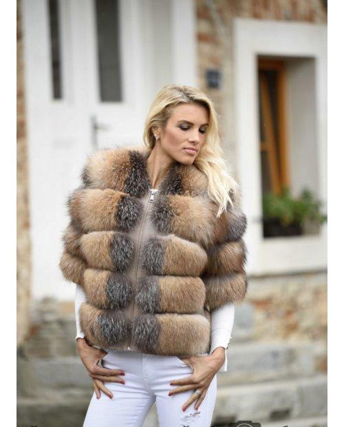 Luxury kožený kabátek - liška frost