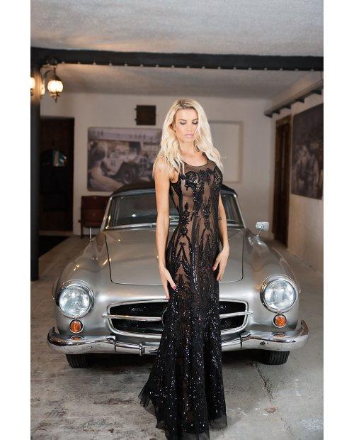 Luxusní dlouhé večerní šaty s flitry