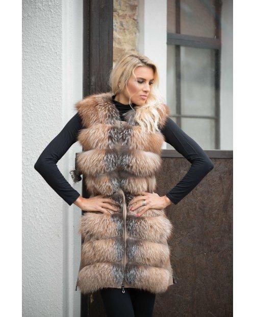 Luxury kožešinová vesta z lišky Frost se zipy