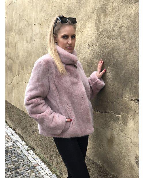 Norkový kabátek Black nafa v barvě pudrové
