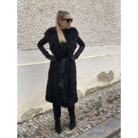 Elegantni dlouhá vesta Rex Rabbit s límcem z mývalovce