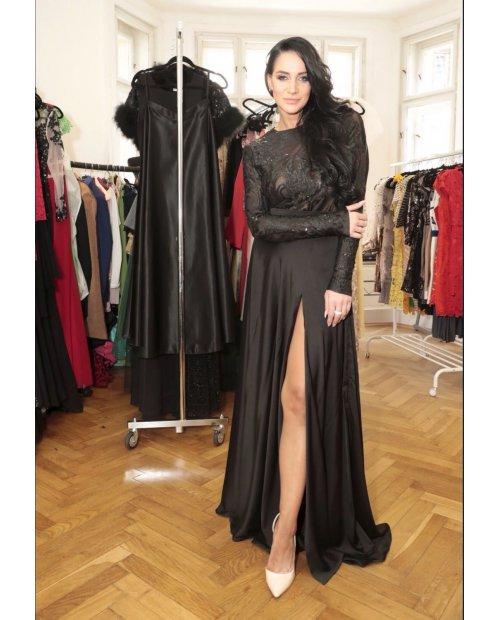 Hedvábná saténová dlouhá sukně s rozparkem
