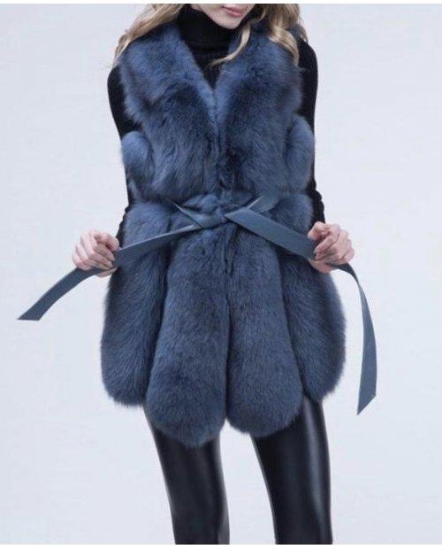 Nový model /kožešinová vesta z lišky s koženým páskem