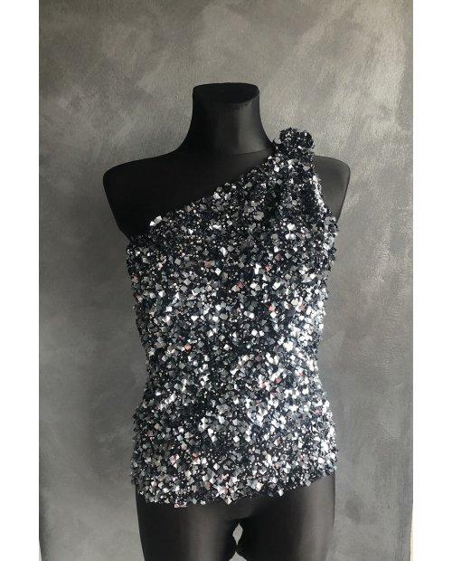 Luxury kovový elastický top se šperkem na rameni