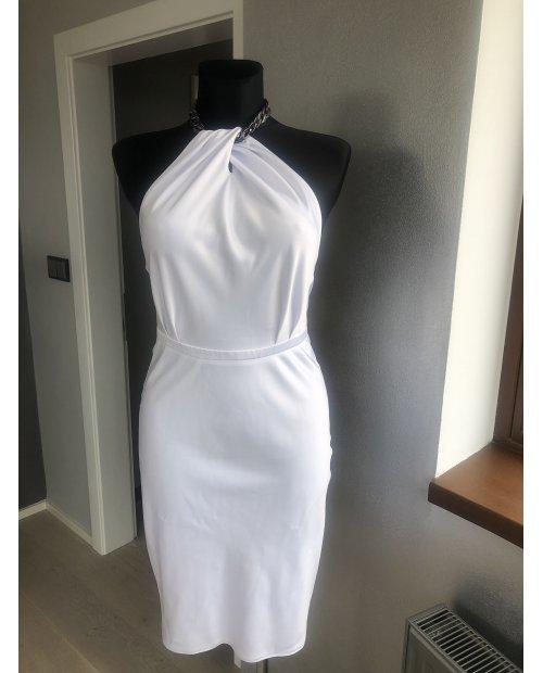 Luxury elastické sexy šaty  z pevného saténu s ozdobným šperkem