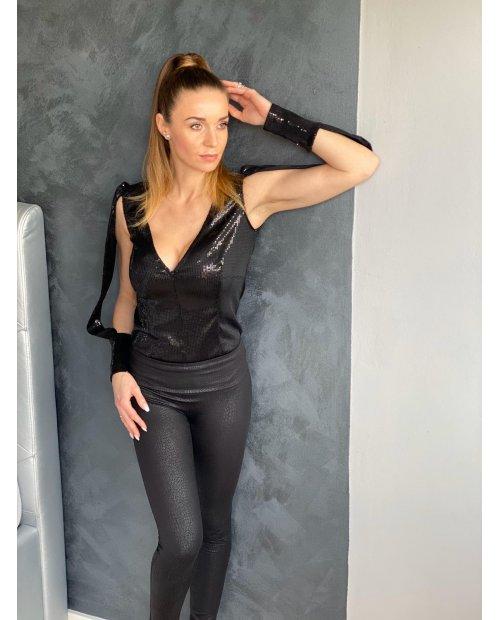 Luxury flitrové sexy body s prostřiženými rukávy