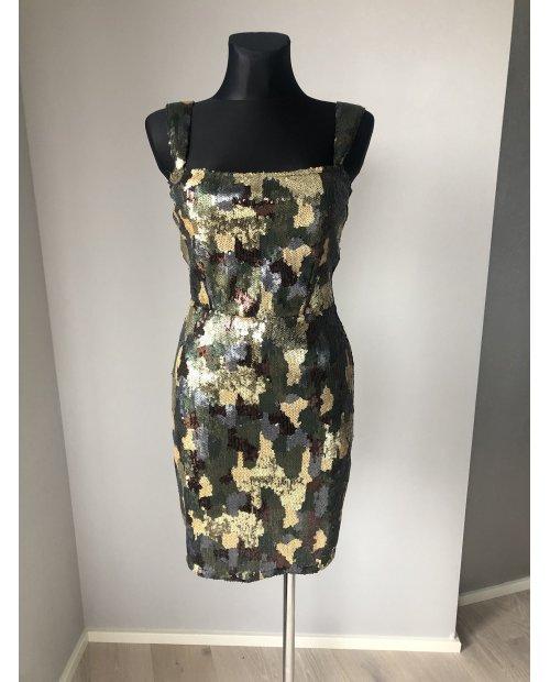 Luxusní flitrové elastické šaty se vzorem maskáč