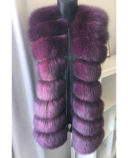 Vínovo - fialová kožešinová vypasovaná vesta na zip