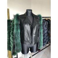 Luxusní kožená bunda s kožešinovými rukávy z lišky