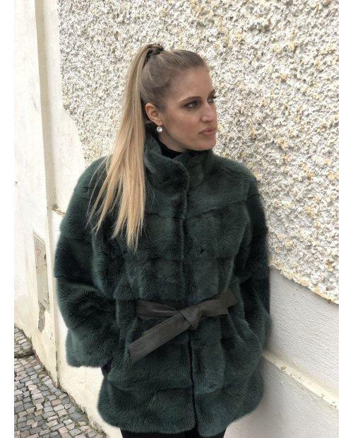 Norkový kabátek Nafa - doplněný koženým páskem