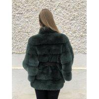 Norkový kabátek Nafa doplněný koženým páskem