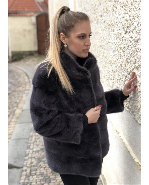 Norkový hnědo - fialový kabátek NAFA