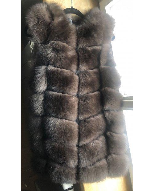 Kožešinová vesta z lišky na zip