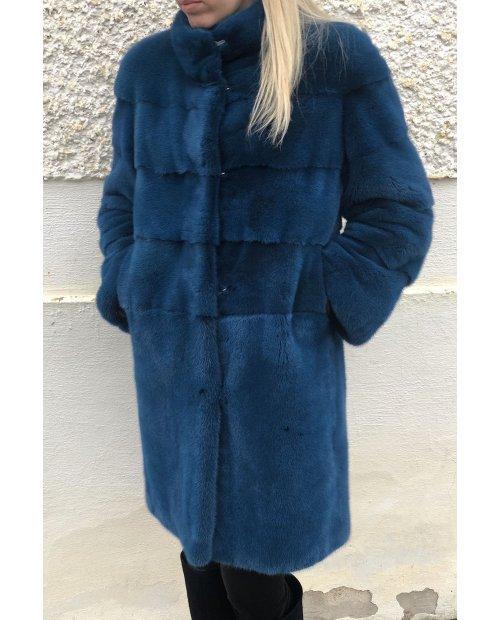 Norkový dlouhý kabát NAFA - petrolej