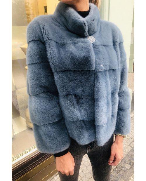 Norkový kabátek NAFA v barvě šedo-modré