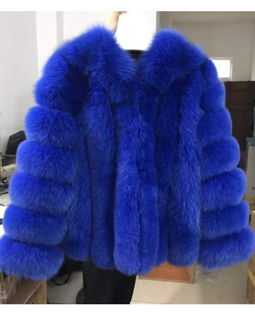 Kožešinový kabátek z lišky - Royal blue
