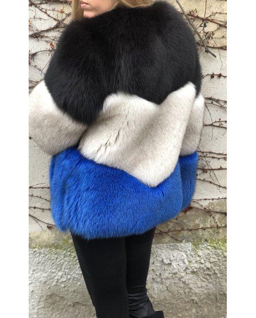 Fashion tříbarevný kožich z lišky