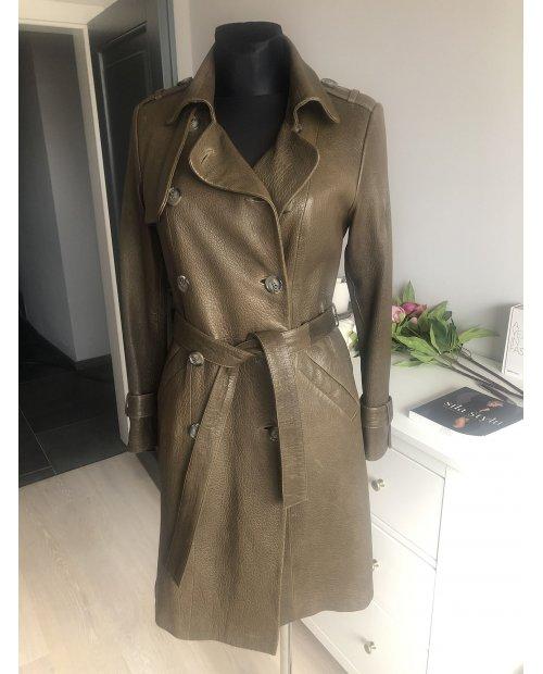 Fashion kožený dlouhý kabát s páskem