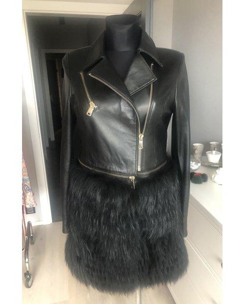 Kožená bundička s odnímatelnou kožešinovou sukní z lišky