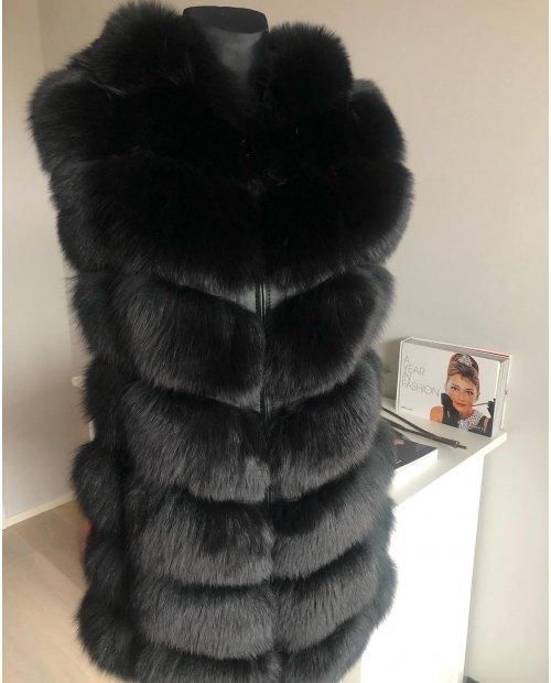 Luxusní kožešinivá vesta z lišky s odnímatelnou kapucí