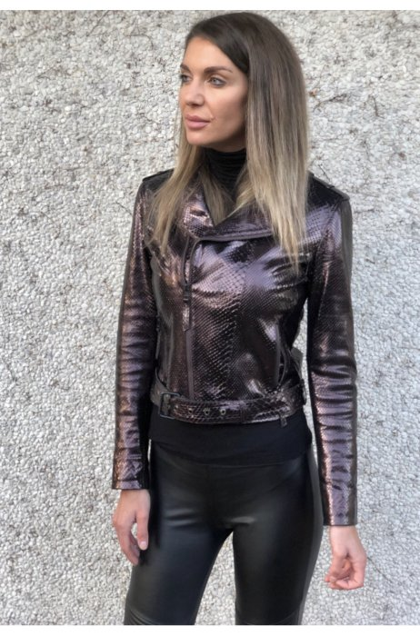 Lesklá hadí fashion Bunda