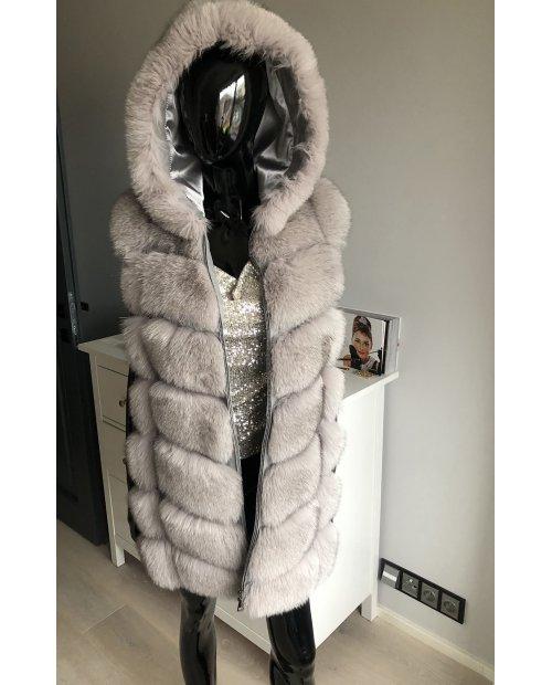 Kožešinová vesta z lišky s odnímatelnou kapucí na zip