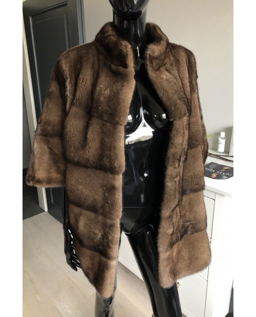 Norkový  krátší kabátek  - přírodní