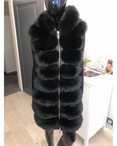 Luxusní kožešinová vesta z lišky s odnímatelnou kapucí na zip