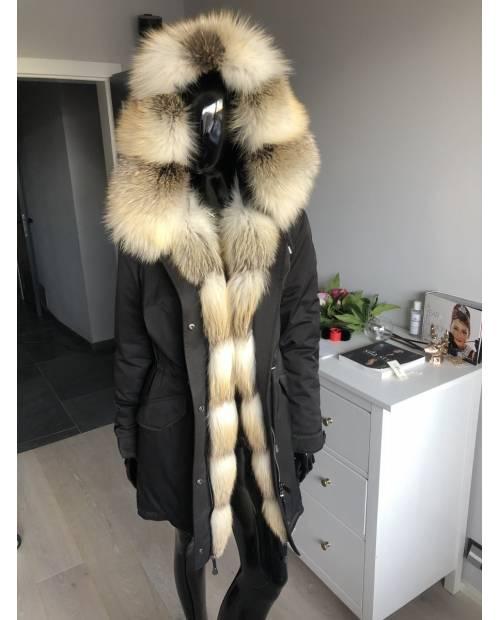 Nepromokavá bunda PARKA s kožešinou z mývala