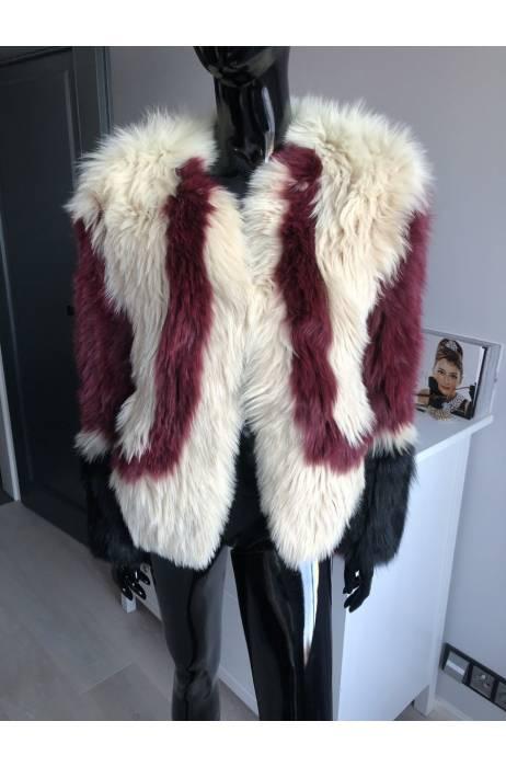 Fashion barevný kabátek z lišky na háčky