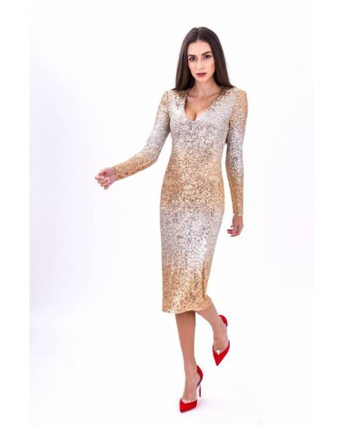GEGE VENEZIA - Flitrové dlouhé šaty s výstřihem