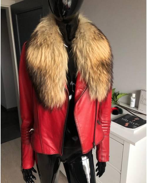 Kožená bunda s odnímatelným límcem z mývala